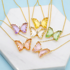 colorful glass 18K gold plated pendant crystal butterfly necklace