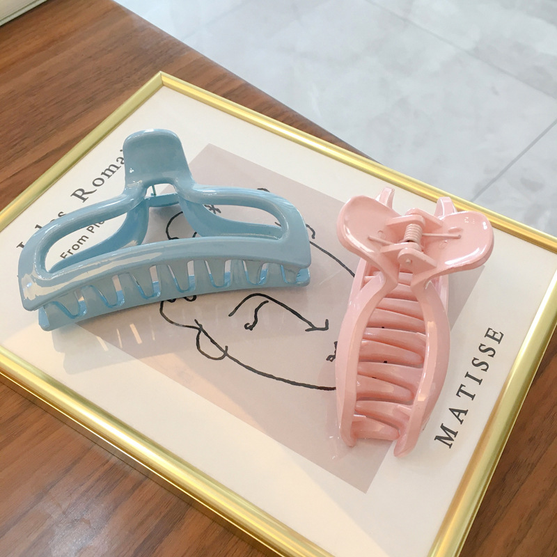 JUHU 2021 biodegradable Candy color acrylic hair claw clip hollow clip solid color classic all-match hairpin wholesale for women