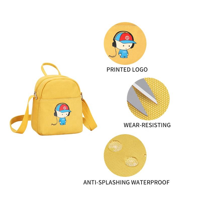 Холщовые сумки-слинги для девочек-подростков, миниатюрные сумки через плечо для девочек-подростков с рисунком, цвет желтый/белый