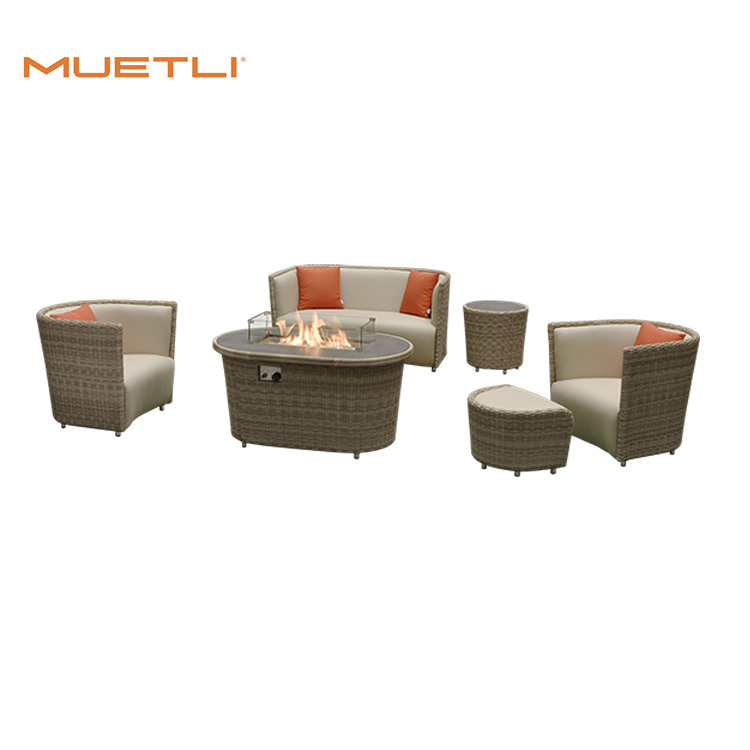 Luxury Leisure Room Garden Furniture Metal Fire Pit Table Outdoor Modern Rattan Sofa For Office