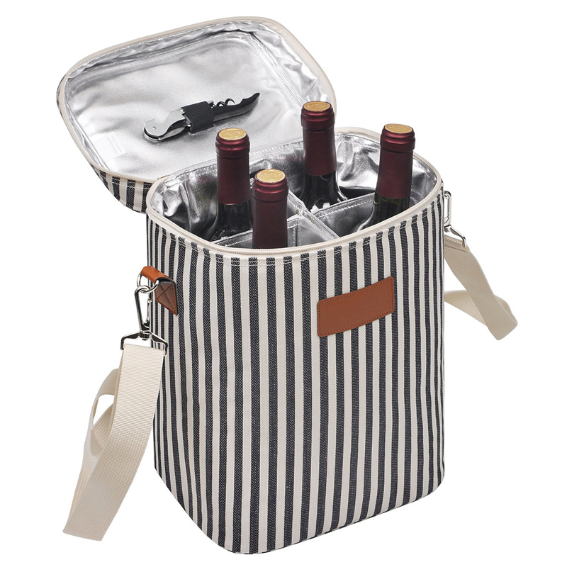 Travel Picnic portable Insulated 4 Bottle Wine Cooler Bag Tote with Detachable Divider