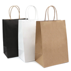 Paper Twisted Handle Bag Paper Handle Paper Bag White And Brown Kraft Paper Twisted Handle Shopping Carrier Bag With Logo Printed