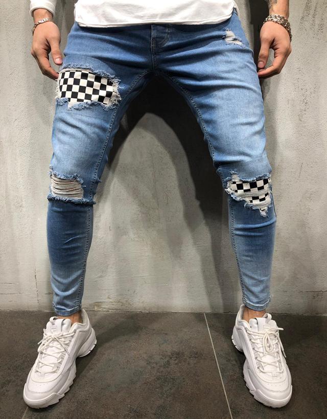 Celana Jeans Sobek Untuk Pria Jeans Kurus Tambalan Kotak Kotak Pinggang Sedang Trendi Buy Jeans Pria Skinny Jeans Pria Ripped Jeans Pria Product On Alibaba Com