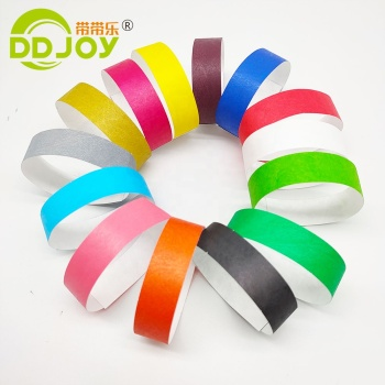 Custom Cheap Plain Solid Bracelet Neon Color Tyvek Wrist Band Waterproof Disposable Tyvek Paper Wristband for Events Festival