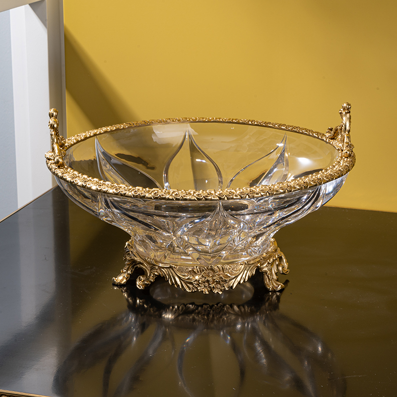 new designs luxury brass crystal home hotel table decoration accessories large fruit plate