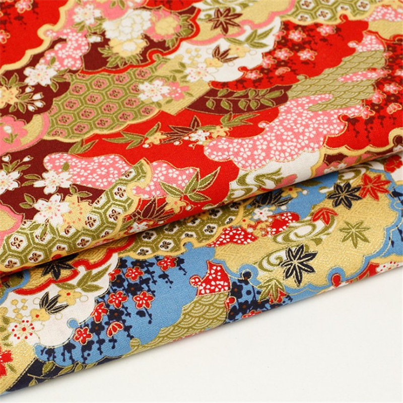 Japan Style Hot Stamping Cotton Fabric  Metallic Fan Cloud Floral Design Blue Red for Women Dress Decoration Suit