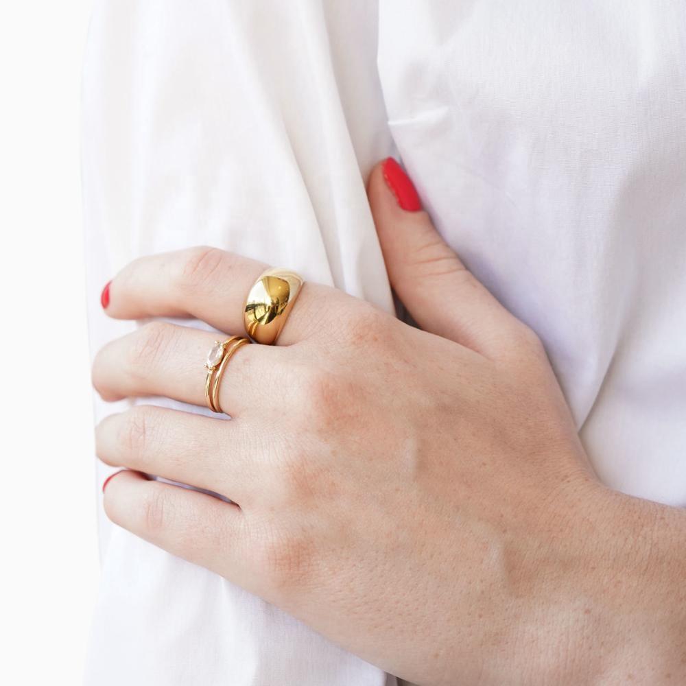Простое купольное кольцо из нержавеющей стали с надписью, уникальное массивное кольцо
