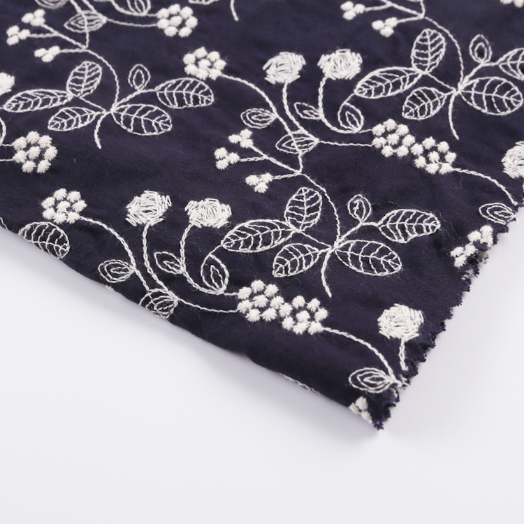 China factory cheap custom logo colors embroidery linen cotton fabric