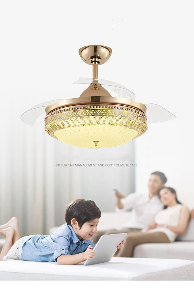 Crystal Glorious Ceiling Fan With Retractable Blades And LED Lights With Remote Control