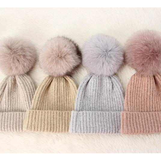 100/% Merino Wool Faux Fur Pom Pom Luxury Knit Beanie Winter Hat Adult Size Knit Hat Blue READY TO SHIP Malabrigo Rasta