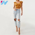 Custom Velvet V-neck Elastic Waist Shirt Lace Women's Crop Top Lady Summer Women Blouses & Tops Petal Sleeve Plus Size Button