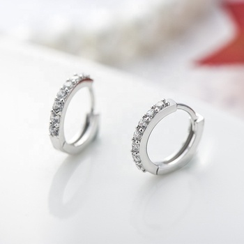European 3A White Cubic Zirconia Gemstone Hoop Earrings 925 Sterling Silver Jewelry
