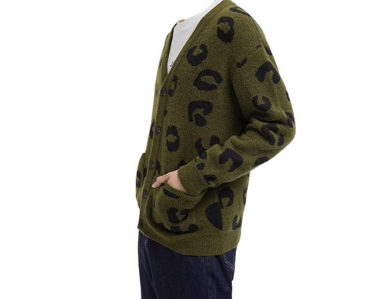 2021 Custom OEM & ODM Long Sleeve Knit Jacquard Cardigan Sweaters V neck men clothes fashion knitted sweater men cardigan