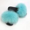lake blue lady fur slipper