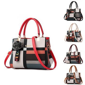 2020 brands pu crossbody shoulder women lady handbags plaid leather office ladies shoulder hand bags