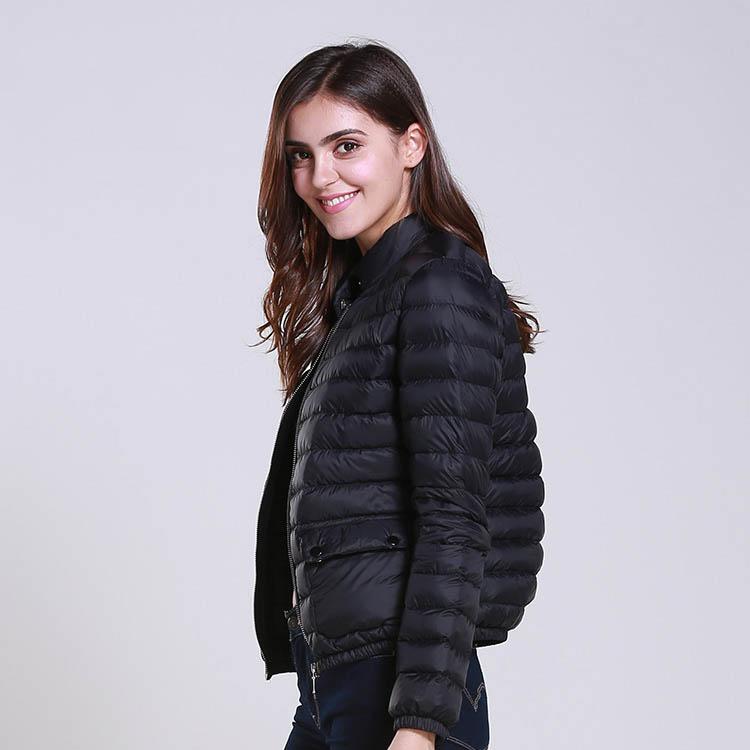OEM/ODM Ultralight Slim Quilted Black Duck Down Puffer Jacket Women