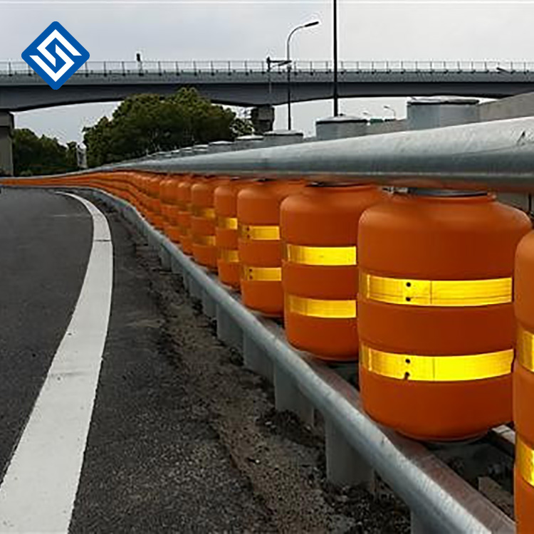 ISO standard PU and PVC safety roller crash barrier south korea rolling barrier system