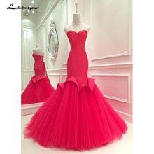 2020 милая красная труба/Русалка выходные платья без рукавов длинное в пол Тюлевое платье для выпускного вечера lakshmigown(Китай)