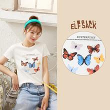ELFSACK женская футболка с коротким рукавом, разноцветная, с графическим принтом, повседневная, Харадзюку, лето 2020(China)