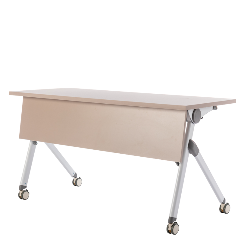 White frame brown desk top Mobile Conference Table Foldable Rollable Meeting Table