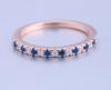 06;Rose Gold;half blue white diamond ring