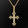 gold rope chain+cross pendant