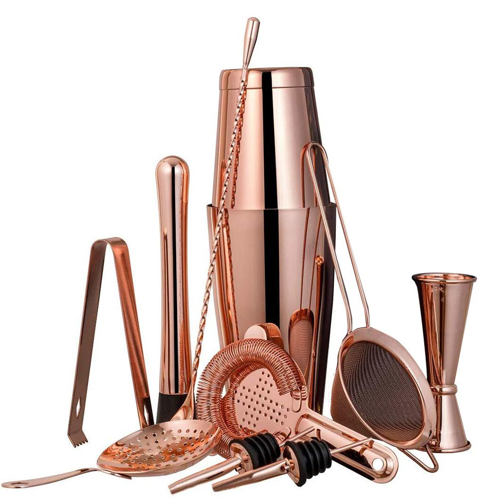 New Product Ideas 2020 Cocktailshaker 750ml Rose Gold Shiny Stainless Steel Boston 11PCS Set Bar Accessory Bar Tools