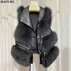New Arrival Fashion Women Winter Gilet Fluffy Fur Waistcoat Real Fox Fur Vest S7928