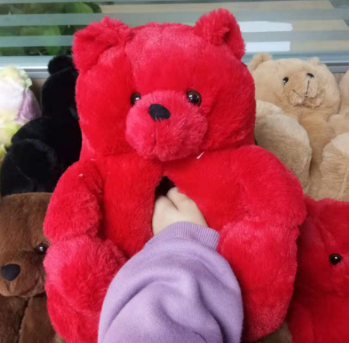 Put on bear inspired Custom 1:1 best-selling shoes, lovely winter gift for girls, B2C/FB/ Christmas party teddy bear slippers