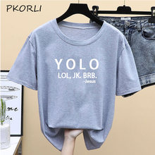 Yolo Lol Jk Brb Jesus футболка женская модная винтажная хлопковая футболка с коротким рукавом Harajuku Корейская женская одежда Прямая поставка(Китай)