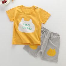 Комплект летней детской одежды, милая кукольная одежда для маленьких мальчиков и девочек, топы для девочек, футболка и шорты с изображением ...(Китай)