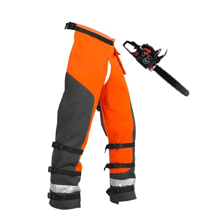 hot gujia customized Industrial 1000D polyester orange Adjustable work Chainsaw pants chaps Chainsaw Apron with PVC coating - KingCare | KingCare.net