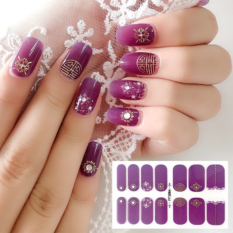 Hot sale Popular 14 tips Nail Art Stickers 3D Crystal & 3D Metallic Chinese Style Nail Wraps Nail Polish Strips