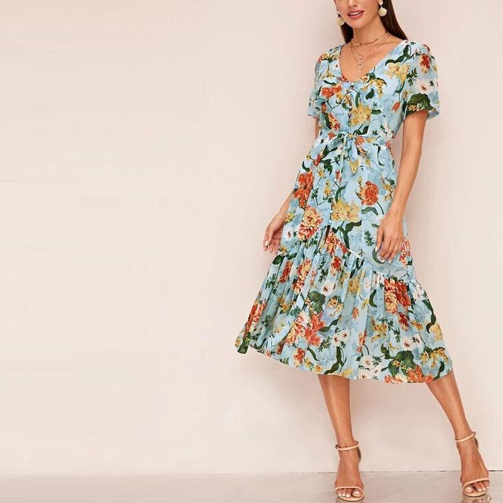 Bedeckter Knopf Durch Ruschen Saum Blumen Kleid Kurzarm Blumen Druck Knopf Vorne Midi Kleid Fur Frauen Buy Buro Kleid Rocke Casual Midi Kleid Frauen Kleid Product On Alibaba Com