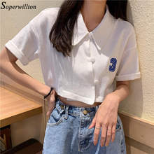 Женская футболка с коротким рукавом, Повседневная Базовая футболка с отложным воротником, 2020(Китай)