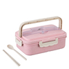Pink box and wheat straw spoon, chopsticks