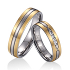 Titanium Diamond Ring Titanium Titanium Diamond Plain Matte Polished Ring With Gold Plated Bevel Ring