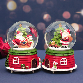 100mm Christmas Snow Globe with 8 Music and Color Lights Music Water Snowball Santa Claus Snowman Music Box