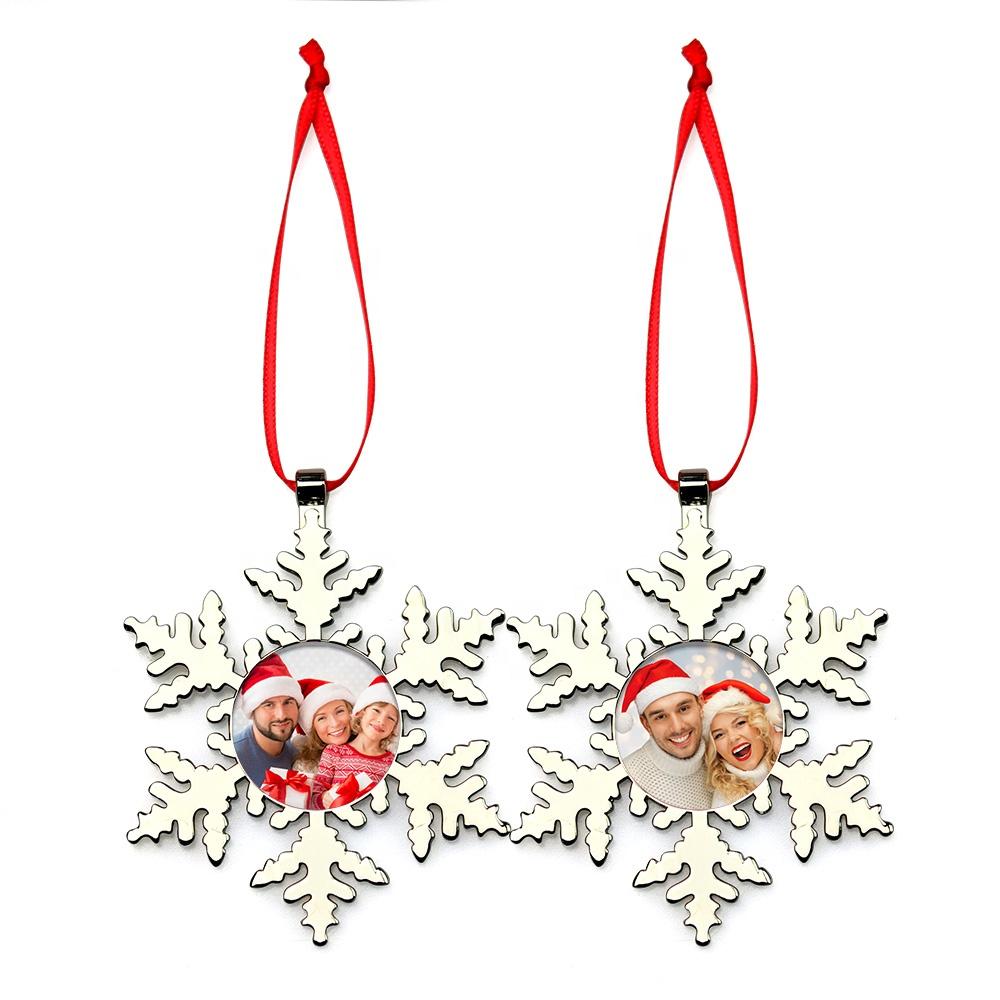 Украшения для рождественской елки на заказ, металлические снежинки, рождественский подарок, фоторамка, подвесной веревочный кулон