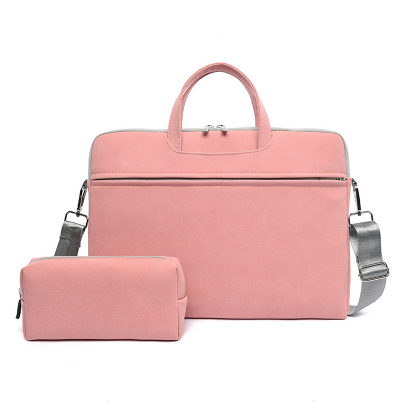 Business Office Women PU Leather Notebook Case shoulder tote Laptop briefcase with Mouse Bag for 14 15.6 inch
