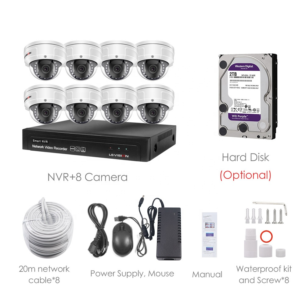 LSVISION 4ch 8ch 5MP poe nvr dvr kit ip security camera set night vision video the best cctv camera system