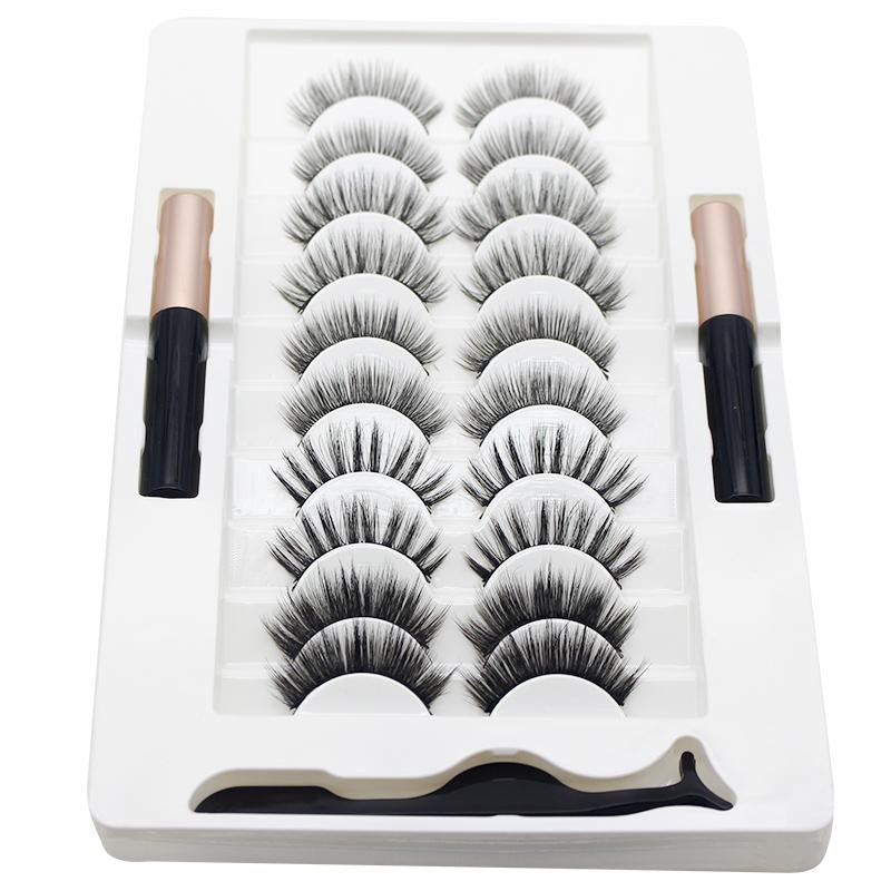 Hot Curling Thick False Eyelashes Magnet Magnetic Eyelashes 10 Pairs of Eyelashes 2 Eye Liner Set.