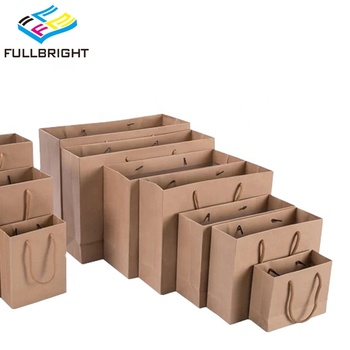 Wholesale Custom Brown White Gift Craft Kraft Shopping Paper Bags With Handle