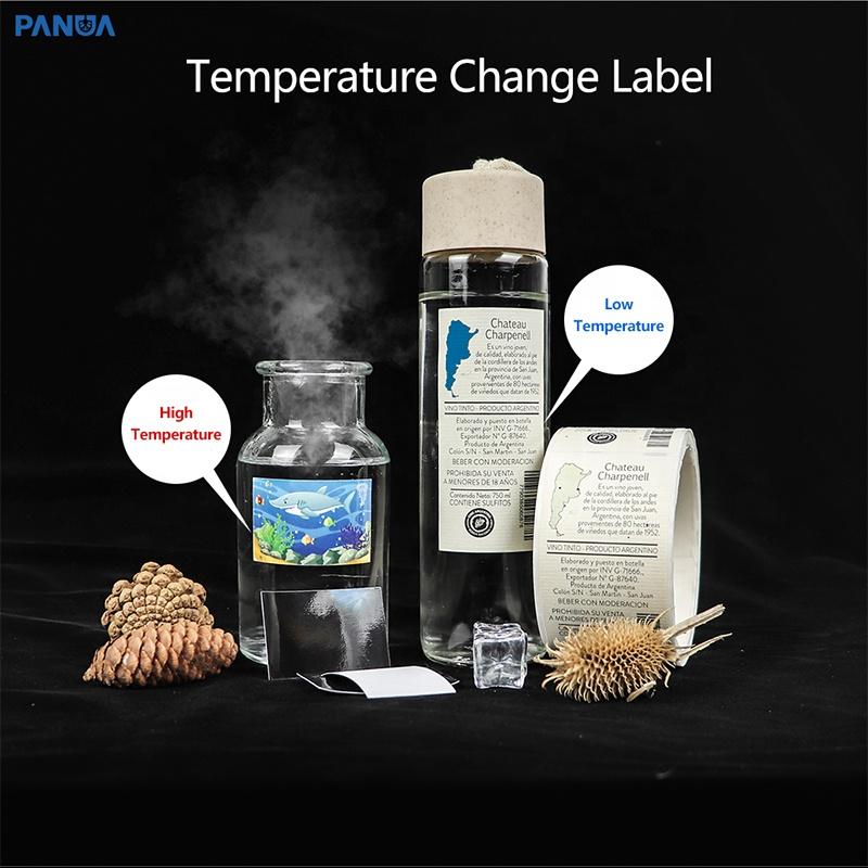 fast digital printing custom low high temperature vinyl Packaging Labels temperature indicator color change label stickers