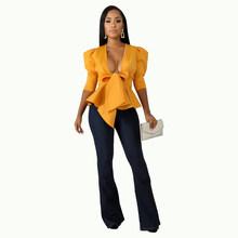 Женский пиджак с рюшами, однотонный, осень куртка с v-образным воротником, плюс размер 2XL(Китай)