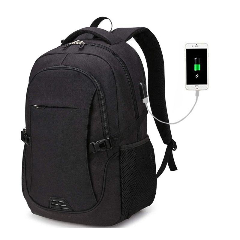 Multifunctional Custom Logo Water Resistant Durable black travelling Business smart Laptop usb backpack