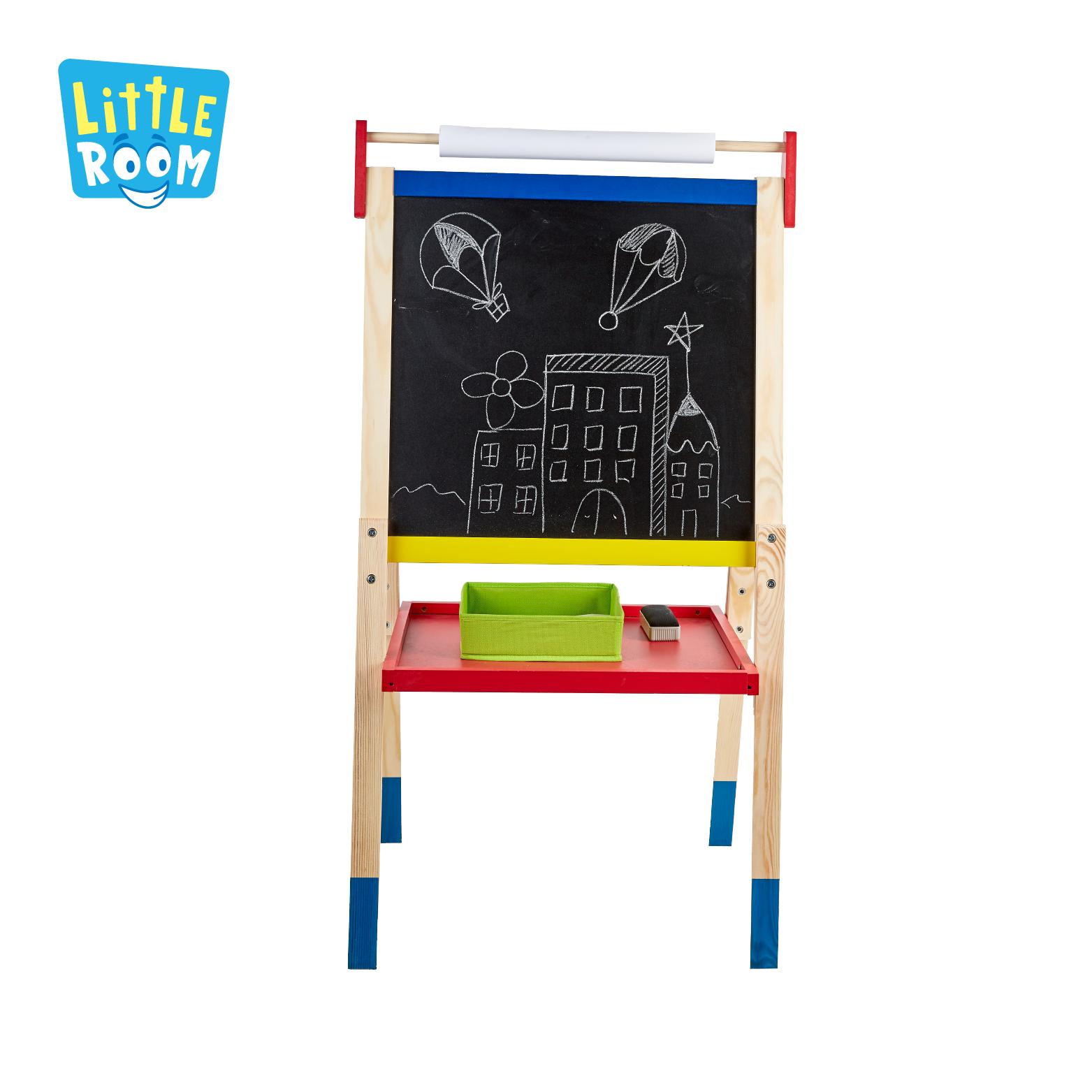 Все-в-1 Двусторонняя стоя Дети Школьная деревянная Магнитная художественный мольберт с рулона бумаги для детей