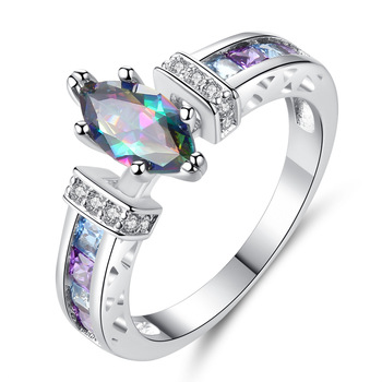 Queena Jewelry Silver 925 Rings for Women with Oval Rainbow Fire Mystic Topaz Gemstone Amethyst Rings Fine Jewelry