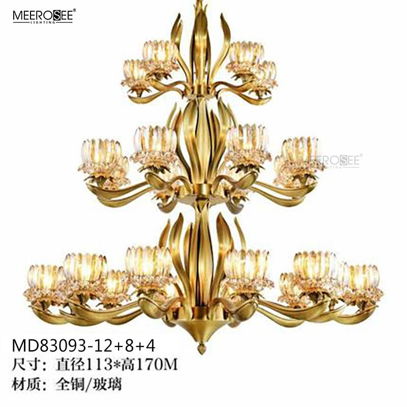 MEEROSEE Custom Made Design Copper Chandelier Glass Chandelier Light Brass Lighting Fixture MD83093