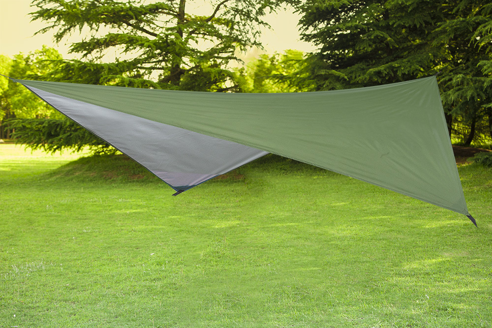 Amazon Hot Sale Polyester Silver Waterproof Fabric Camping Tarp With Hammock And Polyester Mosquito Net